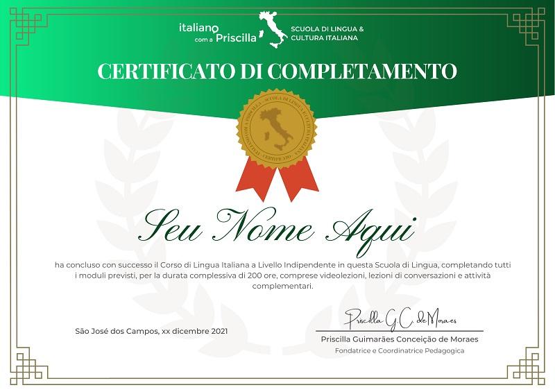 Certificado ICP - Matrículas Abertas Italiano com a Priscilla 2.0