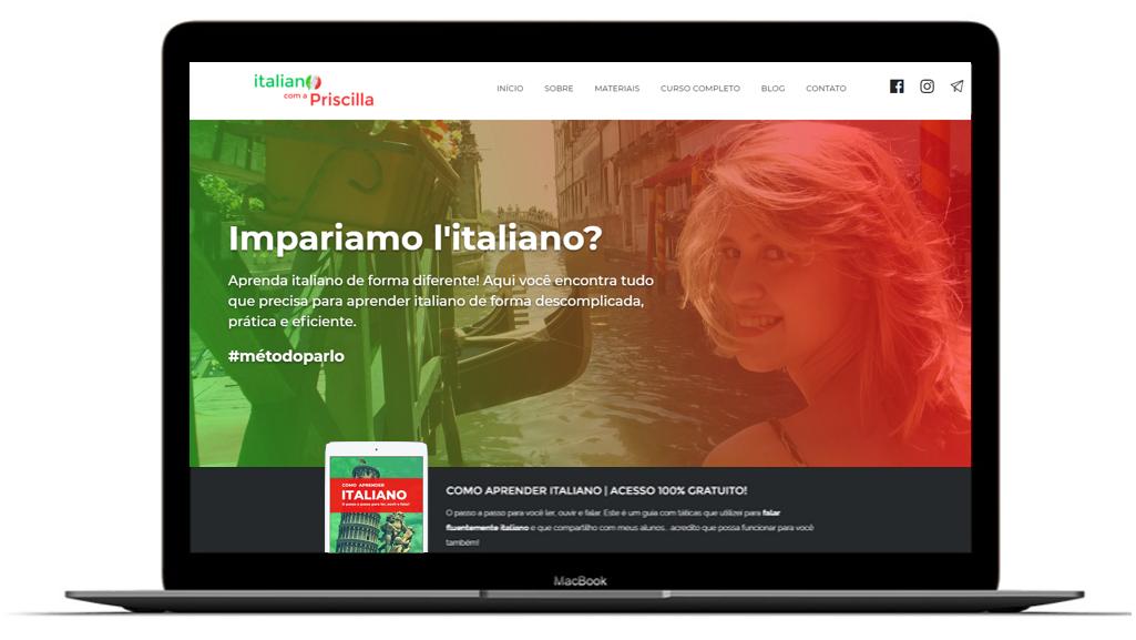 Site Italiano com a Priscilla 2 - Sobre Italiano com a Priscilla